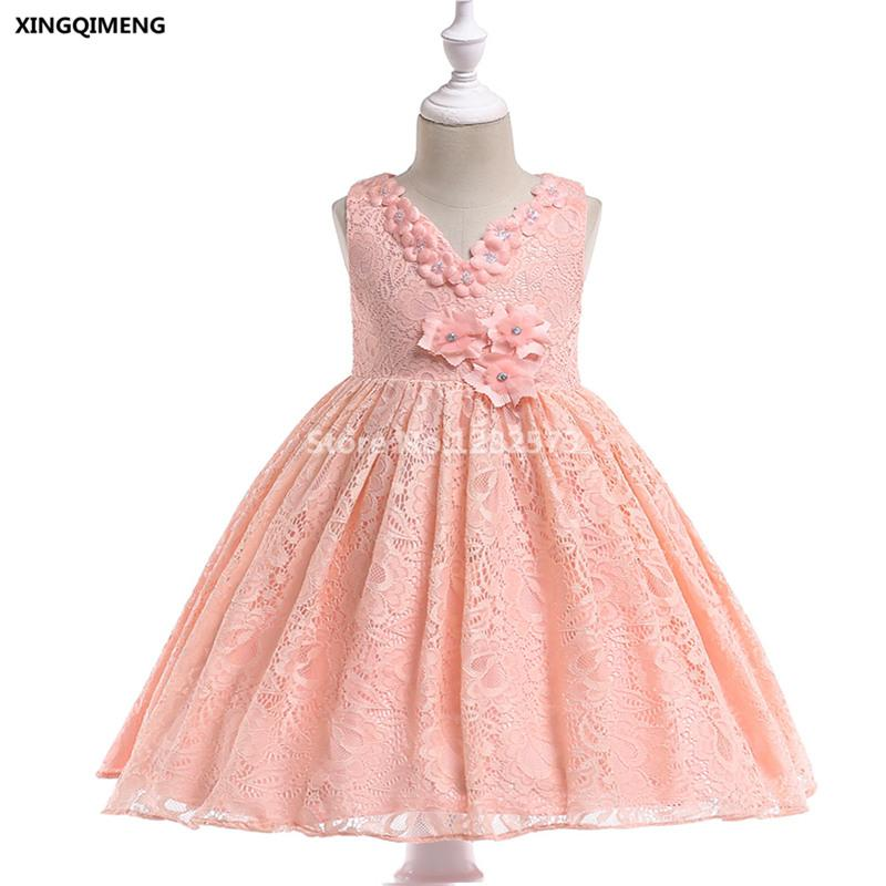 In magazzino Pink Full Lace Flower Girl Dress per matrimoni 3-10Y Cheap Simple Beaded Dress formale per ragazze Short Kids Pageant Gown