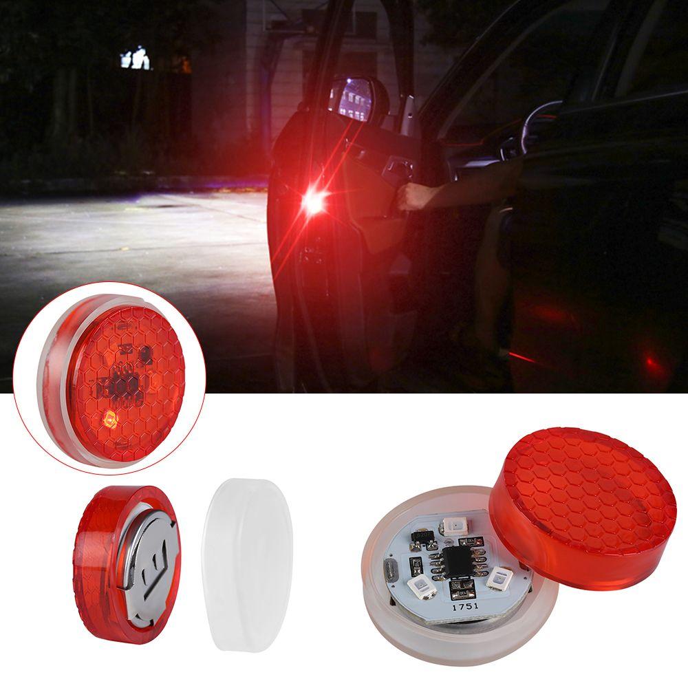 2Pcs Wireless Car Door LED Opened Warning Flash Light Anti-collid Universal Top