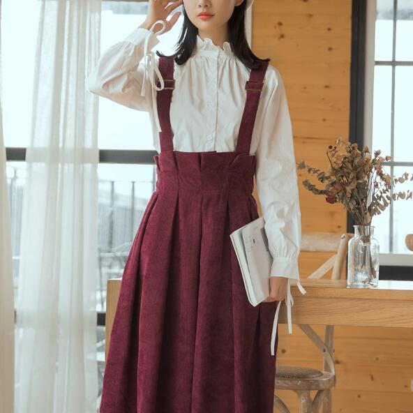 Compre Japón Estilo Kawaii Sundress Mujeres Chaleco Sin Mangas Vestidos De Pana Borgoña Azul Marino Marrón Mori Girl Vintage Vestido A 3743 Del