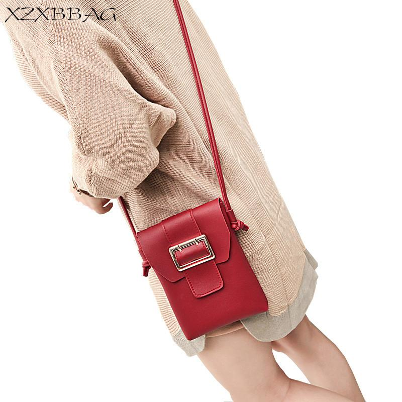 XZXBBAG Women Fashion Hasp Shoulder Bags Female PU Mobile Phone Messenger Small Bag Girls Crossbody Bag Pin Buckle Flip Packet