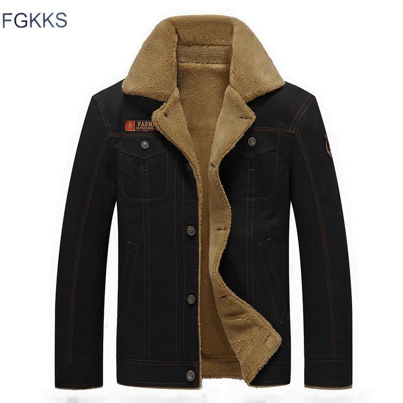 FGKKS 2018 Homens Jaqueta Casacos de Inverno Militar Jaqueta Bomber Masculina Jaqueta Masculina Moda Jaqueta Jeans Casaco Mens S914