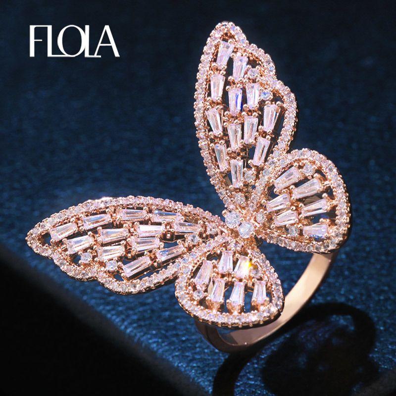 FLOLA Lovely Ladies Zircon Gran Anillo de Mariposa Cubic Zirconia Incrustado de Oro Rosa de Color Anillo de Moda Para Las Mujeres Regalo de La Joyería rigf61 S18101608