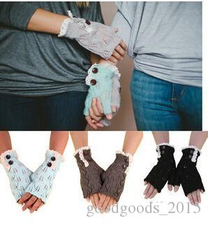 western style Christmas women girls solid Lace button Knitted leaf lace Fingerless Gloves Arm Warmer TO131
