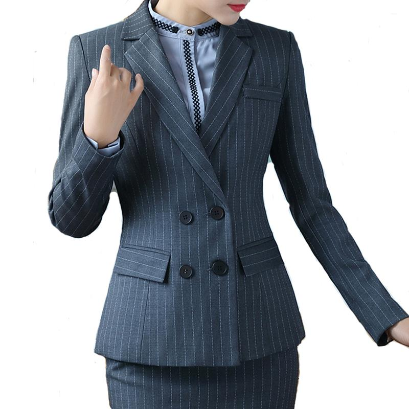 12bcaca12b1 Women'S Suit Double Breasted Long Sleeve Stripe Blazer And Skirt Set Career  Work Wear UK 2019 From Baimu, UK $&Price; | DHgate UK