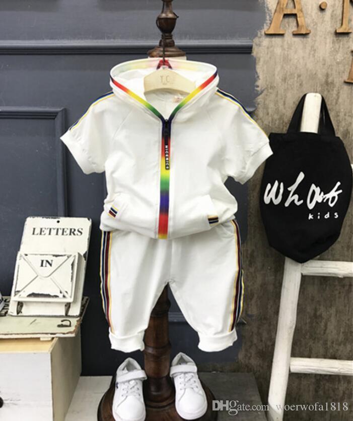 baby suit 1T-4T Bambini Felpe con cappuccio e pantaloncini per bambini Tute bambini Tuta sportiva 2 pezzi Imposta cotone manica corta imposta estate