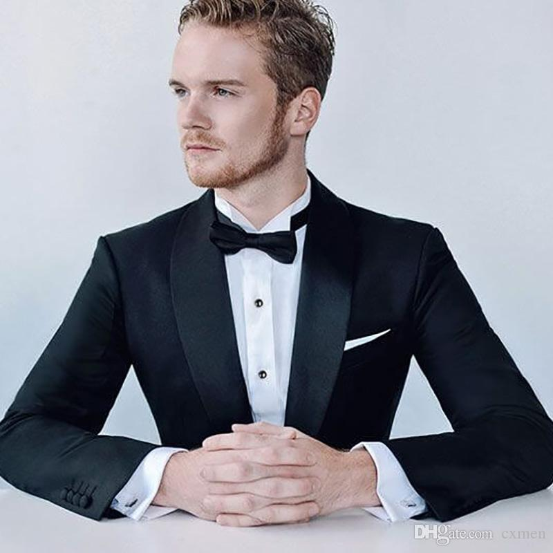 Black Mens Wedding Suits 2018 Formal Shawl Lapel Bridegroom Best Man Blazers Slim Fit Prom Wear Evening Party 2 Pieces Jacket+Pants