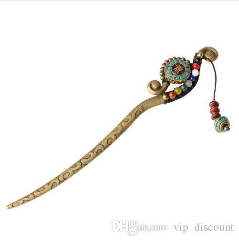 Moda natura pietre gioielli vintage per capelli, bastoncini per capelli etnici Aventurine, pinti per capelli charms in Nepal