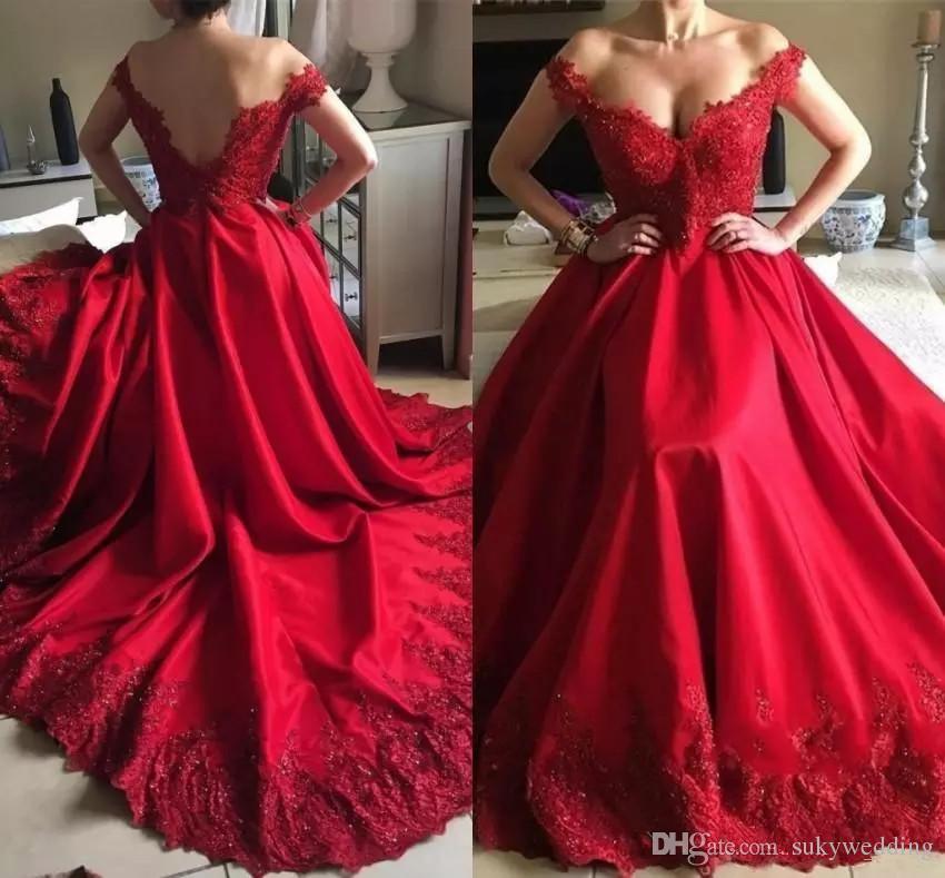 2019 elegante árabe rojo del vestido de noche del hombro del desgaste apliques largo sin espalda Holiday Plus Tamaño Prom Party desfile del vestido por encargo