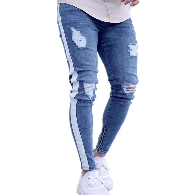 Precio pagable diferentemente Precio al por mayor 2019 Compre High Street Side Stripe Jeans Hombre Skinny Fit Jeans Acanalados  Pantalon Jean Homme Denim Pantalones Pantalones De Lápiz Destruidos A  $61.96 ...
