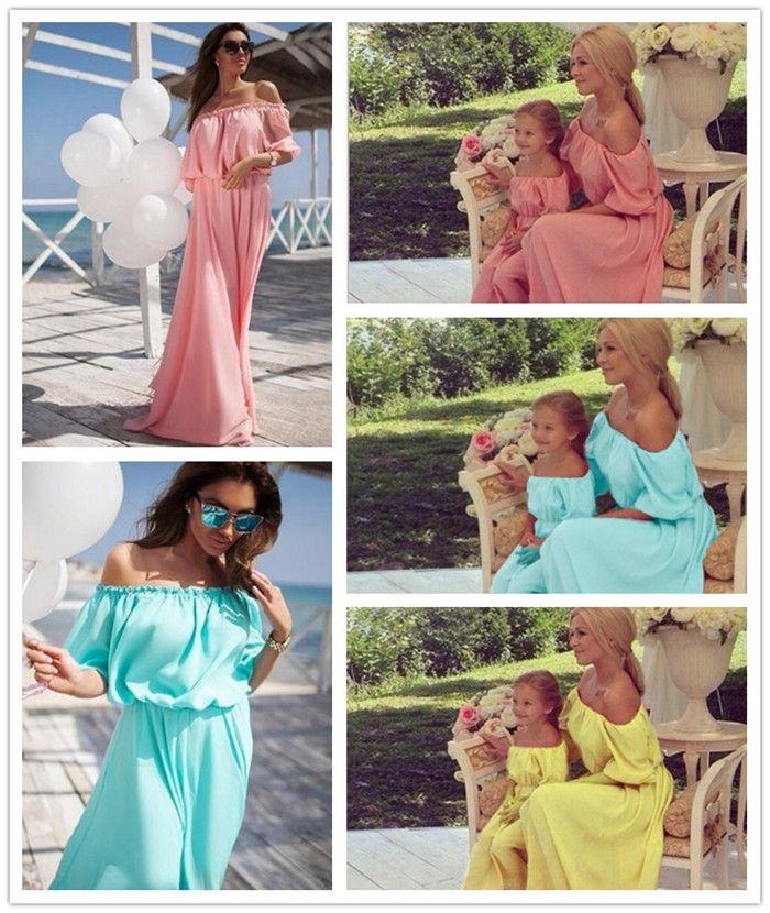 madre e hija de la familia coincidente equipos del verano del vestido de la manga de la gasa de Soulder cabritos del vestido de los padres del niño medio equipa Y221