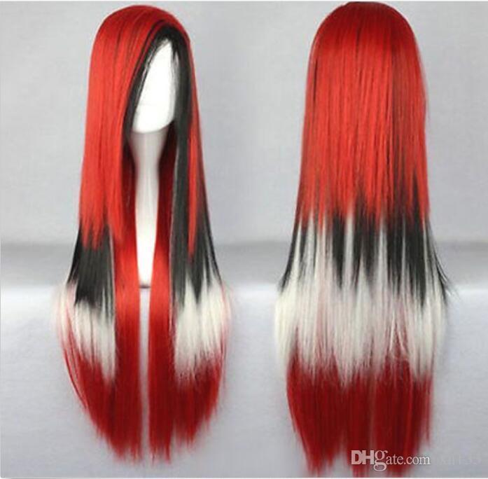 Parrucca per capelli Parrucca Cosplay Parrucca donna nera lunga rossa bianca multi-colore + cappuccio
