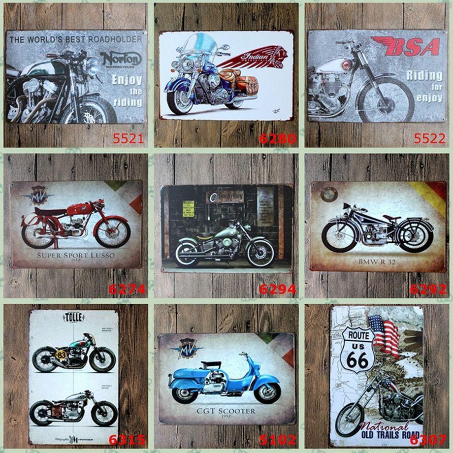 Hot motocicleta Auto Metal pintura projeto rerto sinal de lata início Bar Pub Hotel Restaurante Café Decorativo Retro Metal Poster