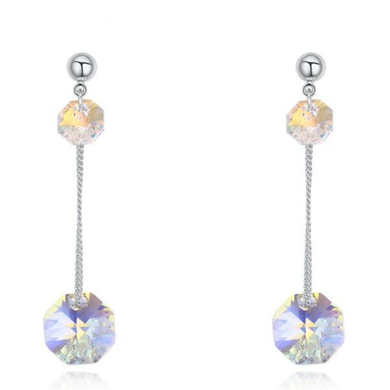Cristal de la joyería de moda de Swarovski Elements pendientes largos de la gota larga de la alta calidad para los accesorios de las mujeres chapado en oro blanco 22190