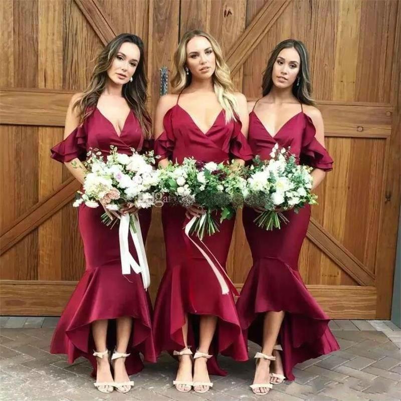 Elegant Burgundy Bridesmaid Dresses Hi-lo Spaghetti Straps Ruffles robe de soiree Mermaid Maid Of Honor Dresses Custom Size