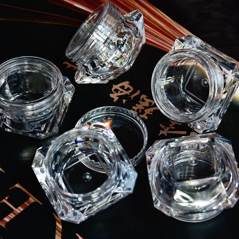 الجملة 5 جرام (5 ملليلتر ، 0.17 أوقية) واضح 100 قطع التجميل جرة فارغة وعاء ظلال ماكياج الوجه كريم مرهم الشفة حاوية مربع (الماس)