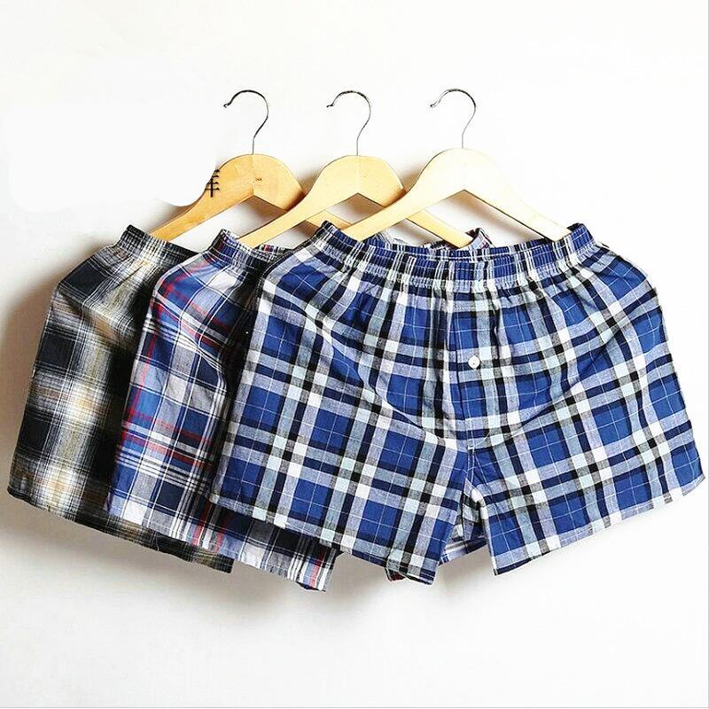 3pcs / lot Plaid Mens Boxer Shorts Sous-vêtements Coton Boxers Accueil Sous-vêtements Male famille Loose Shorts Large Men Loose Panties