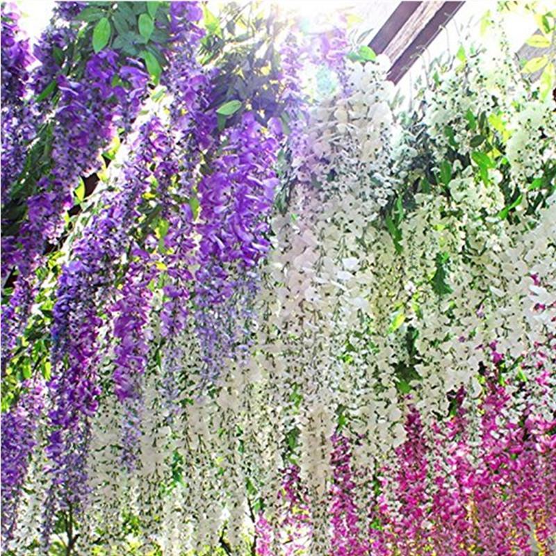 2020 3 6 Feet Elegant Artificial Silk Flower Wisteria Vine