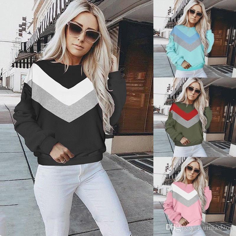 Nouvelle Mode À Manches Longues Polaire Chemises À Capuche Sweatershirts Casual Débardeur Patchwork Pull Lâche Femelle Tops