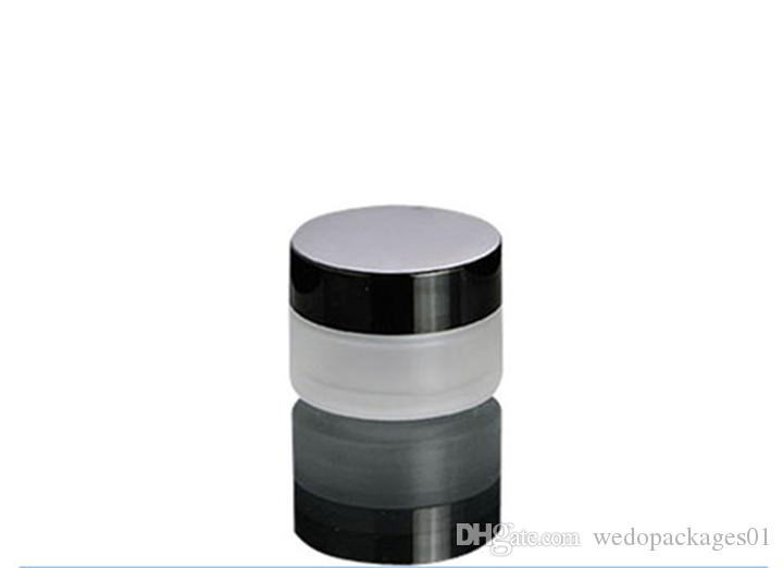 Wide mouth 50g frosted glass jar storage for cosmetic cream with black UV plastic screw lid & inner manual lid ,50m facial cream container