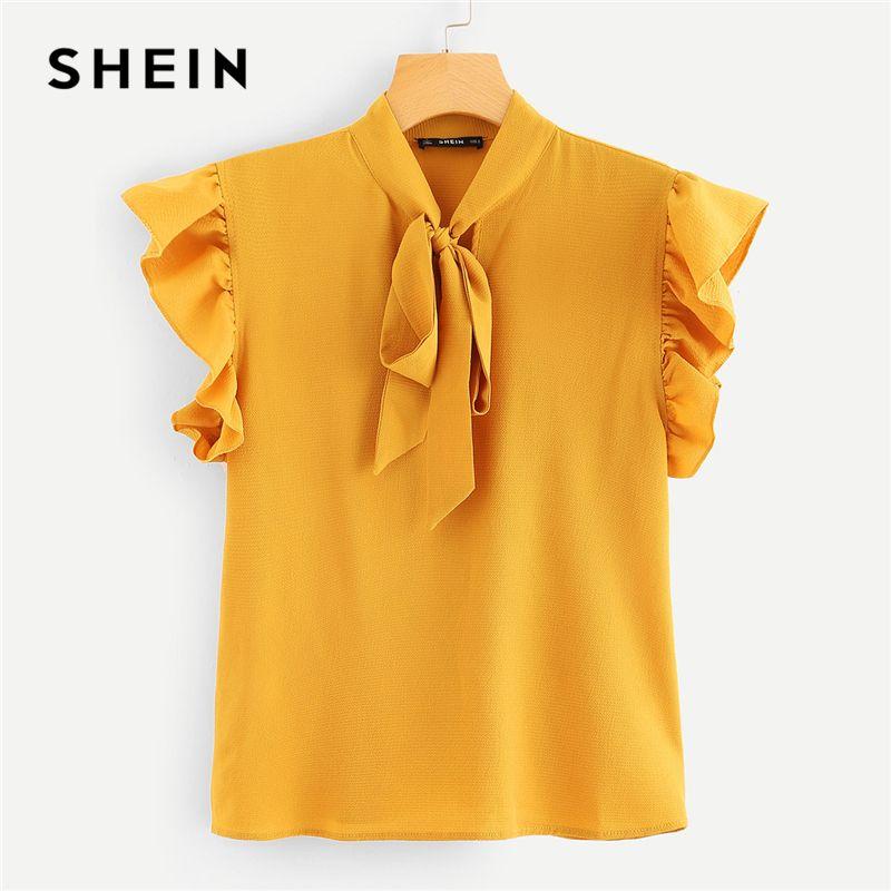 SHEIN 겨자 우아한 사무실 레이디 Flounce 어깨 넥타이 꽃 솔리드 프릴 블라우스 2018 여름 여성 탑과 블라우스