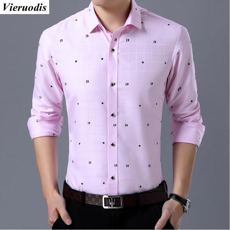 Compre Camisa De Vestir De Negocios Para Hombres De La Moda Modelos Delgados Camisas De Manga Larga Para Hombres Camisas De Solapa De Impresión