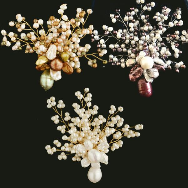 L.RUBY Natural Freshwater Pearl Manual Weave 【 The Plum In The Golden Vase 】 Fashion Brooch Broth Ornaments A911