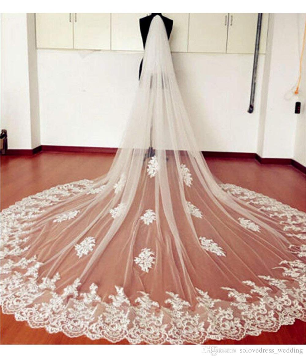 Long blanc / ivoire voile de mariée en dentelle Appliques voiles de mariage pour mariée Longue voile de mariage avec bord de dentelle de haute qualité