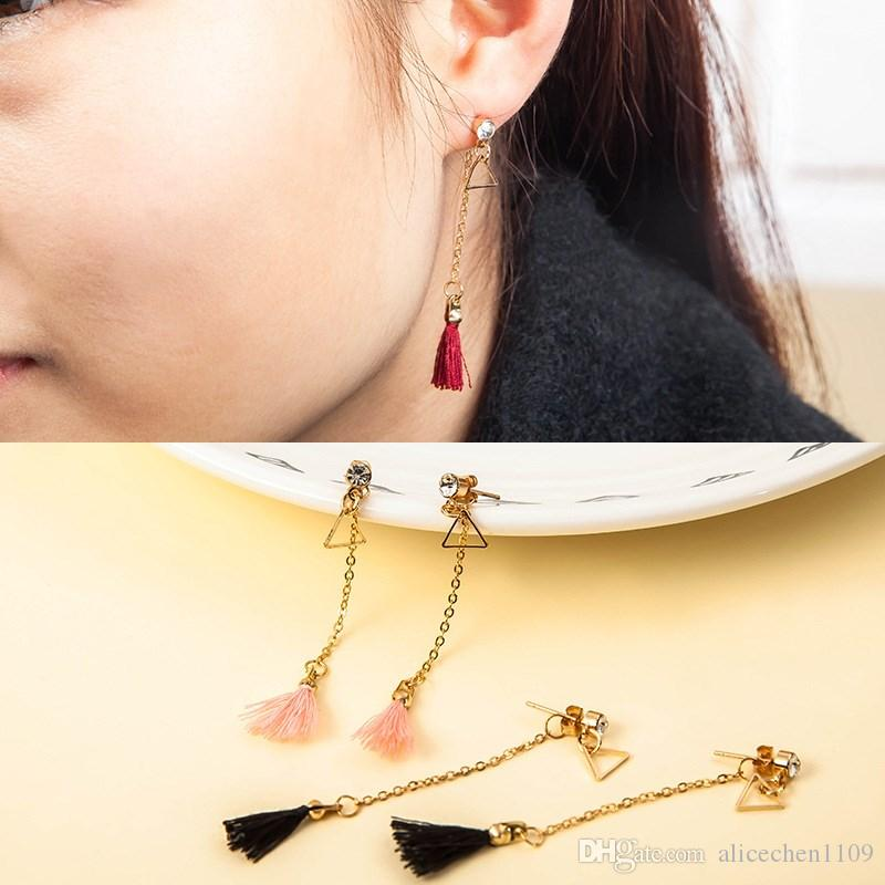 Alloy Long Dangles Earrings For Party Jewelry Accessories Tassel Earrings Fashion Fringed Eardrop Ethnic Style Crystal Decor