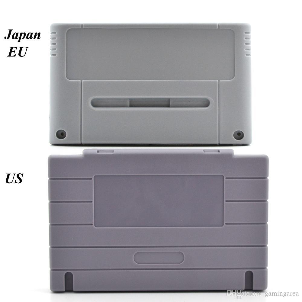 Cartouche de jeu en plastique de remplacement pour cartouche de jeu 16 bits avec boîtier de protection pour boîtier de jeu SNES SFC (version US JP EU)