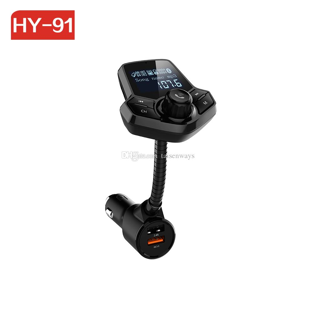 HY91 Bluetooth Kit Dual USB LCD AUX Car Mp3 Player FM Transmitter modulator QC3.0 Quick Charger Wireless Handsfree Carkit