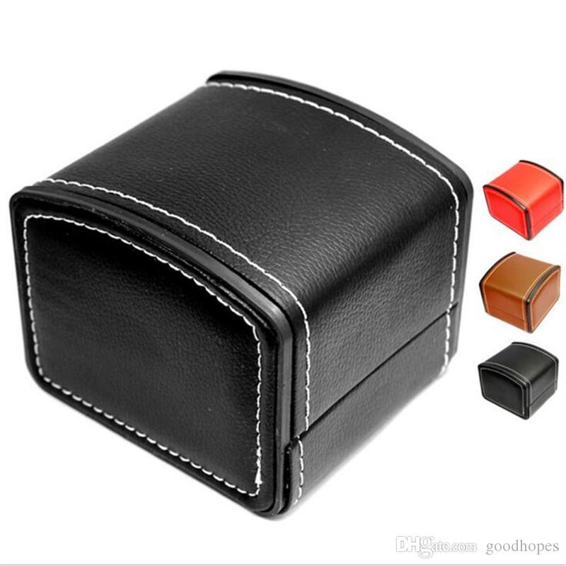 Cajas de joyería de moda del reloj de cuero durable de la PU de cajas de reloj pulsera del reloj del brazalete caso caja de regalo