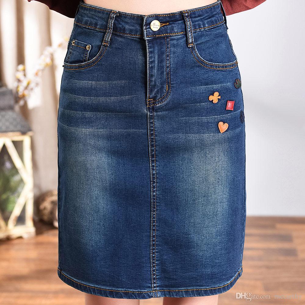 DENIM Dorywczo Spódnice Kobiety Plus Size Lato Wiosna Jesień Nowa Moda Kolana Długość Haft Proste Spódnice Bawełniane Mieszanka Blue Tyn0820