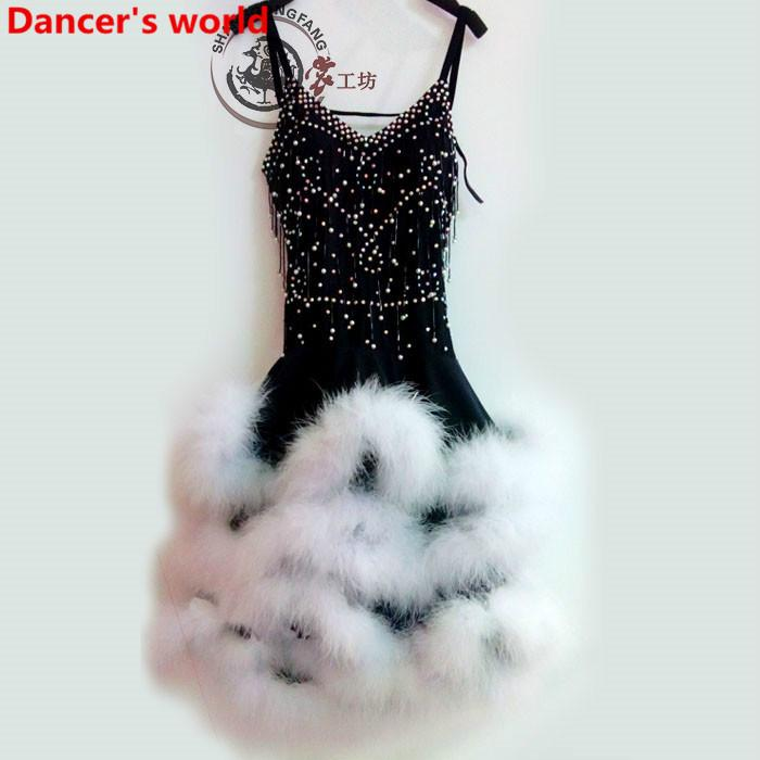 Юбка с перьями и юбками Женская обвязка в стиле назад с латинским танго Бальное платье сальса Танцевальный костюм Кисточка женские платья