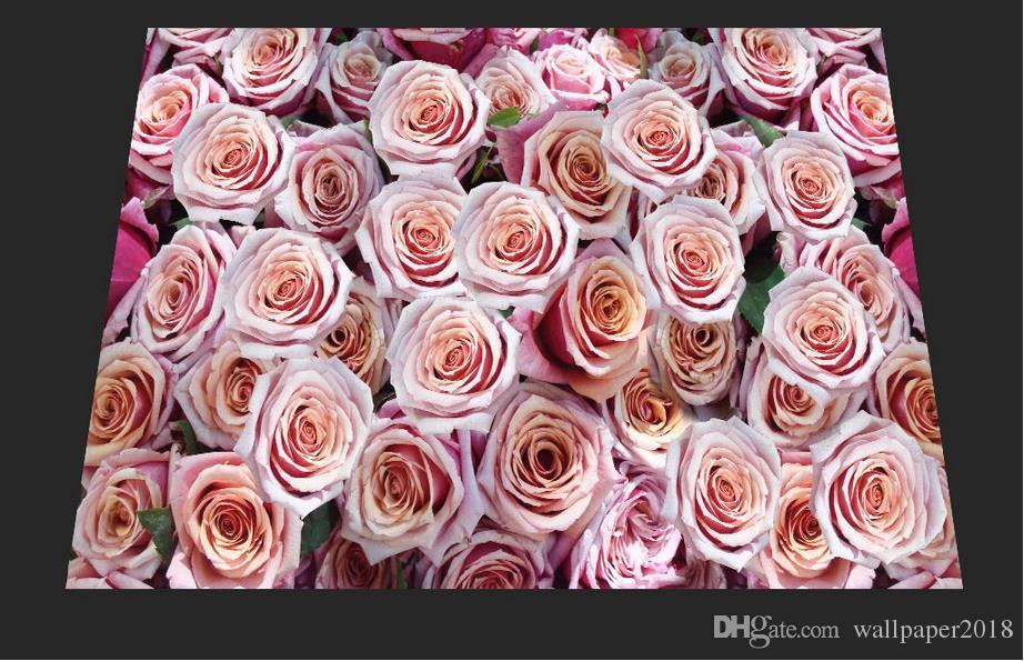Painting PVC wallpaper Romantic rose floor decorative painting self adhesive wallpaper
