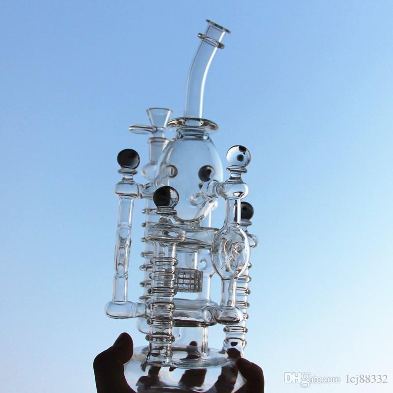 """Mobius Matrix sepet cam nargileler fıskiye 12"""" Recycler bong kuş kafesi su boruları petrol kulesi bongs bong Bongs yumurta Yeni yüksek karmaşıklık cam"""