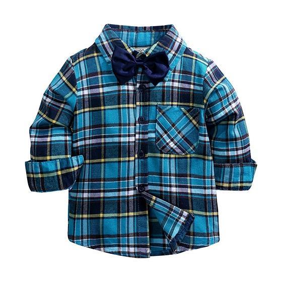 Baby Boys Plaid Shirts Niño niños niños manga larga tops camisa primavera otoño rechazo cuello blusa