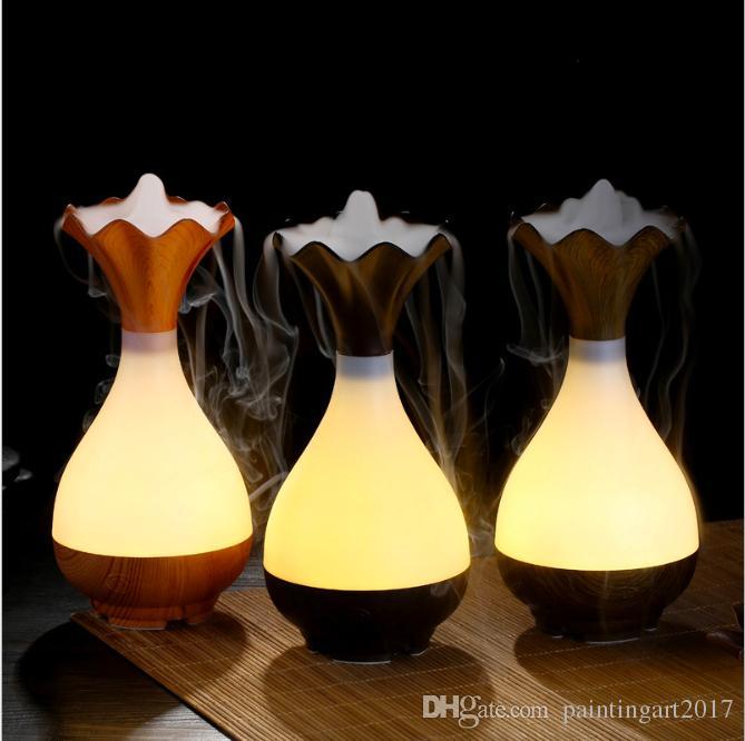 NUEVO! Jarrón de madera Jade Bottle Led Humidificador Aroma Air Difusor Purificador Atomizador difusor de aceite esencial Atomización para el hogar