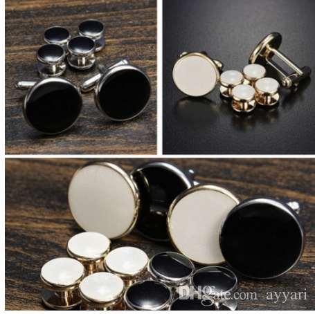 Erkek Moda Smokin Kol Düğmeleri Resmi Kostüm Gömlek Çiviler Kol Düğmeleri 6 Adet / takım