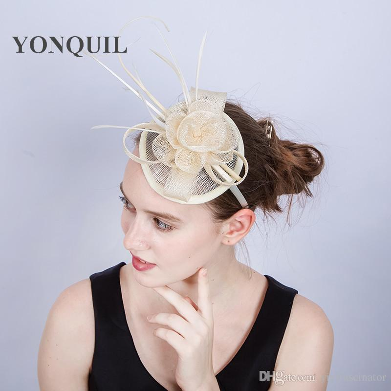 NEW ARRIVAL 17color Elegant ivory Wedding Cocktail Hats with Ostrich pole For Women Design Banquets Ladies Summer Occasion Event Race SYF168