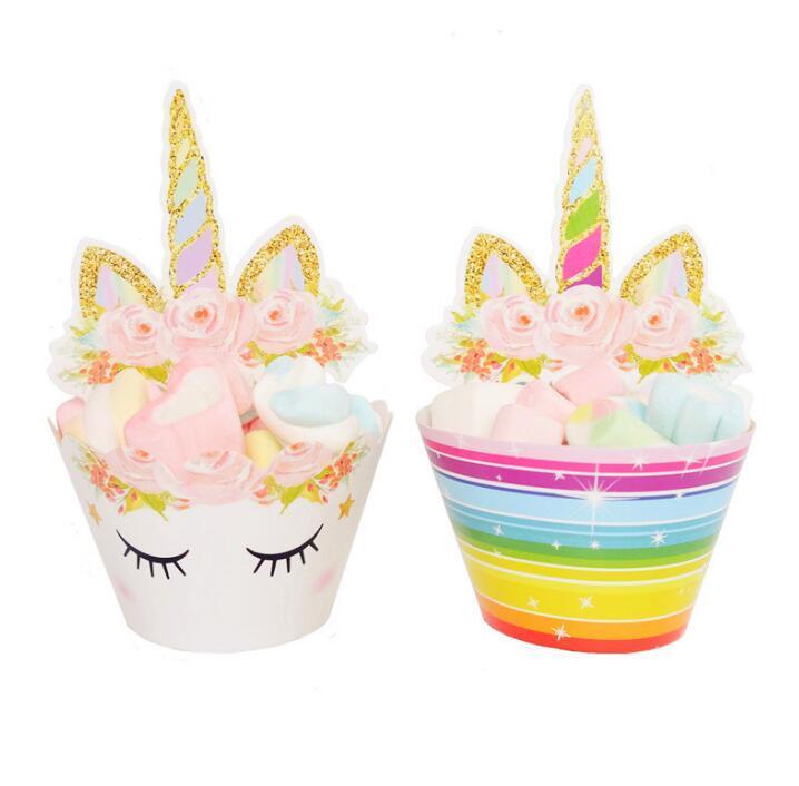 24 unids / set Toppers Cartoon Rainbow Unicorn Cupcake Cake Hornear Copa Envolturas Boda Decoraciones de la Fiesta de Cumpleaños Herramientas GGA662 30 sets