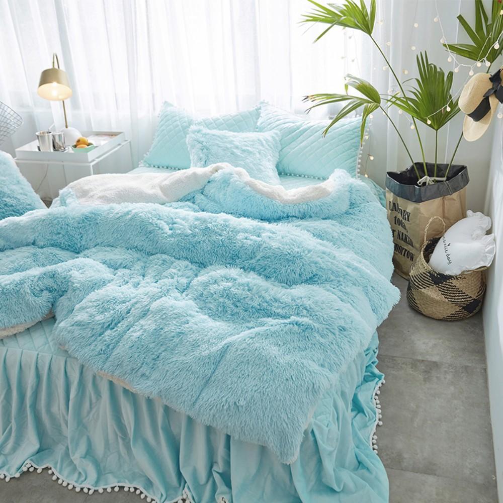 Mink Velvet White Blue Princess Girls Bedding Set Thick Fleece Warm Winter  King Queen Twin Duvet Cover Pillow Cover Bed Skirt