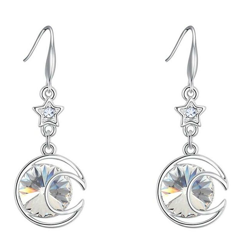 Rhinestones Crystal von Swarovski Elements Mond Sterne lange Ohrringe für Frauen Modeschmuck White Gold Plated 26496
