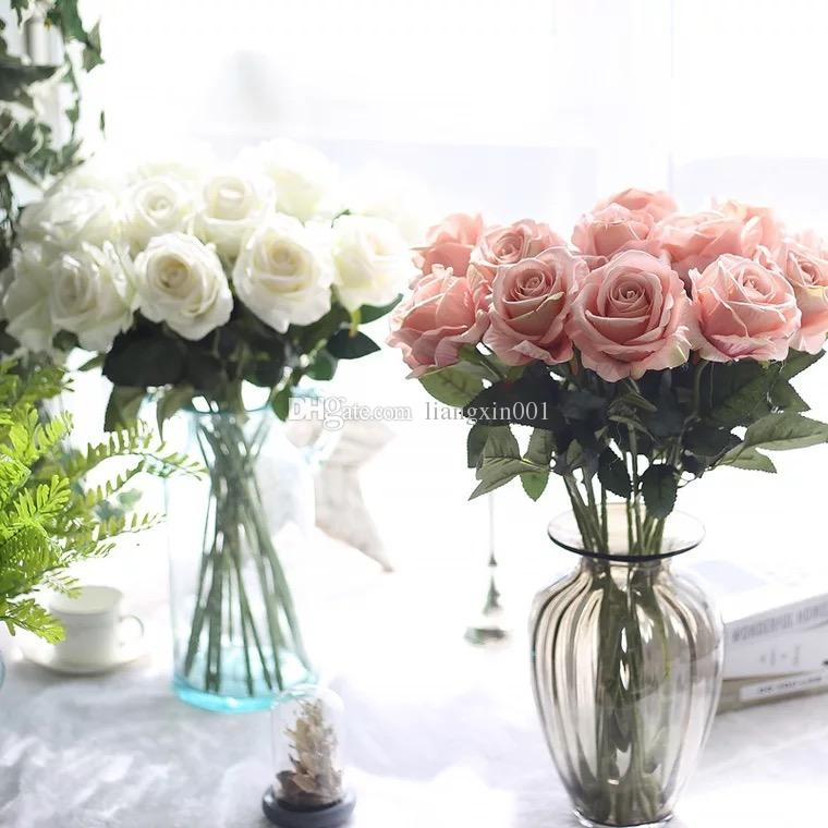 10pcs / lots Artificiale Rose Fiori Wedding bouquet Bianco Rosa Thai Royal Rose Fiori di seta Home Decoration Wedding Party Decor