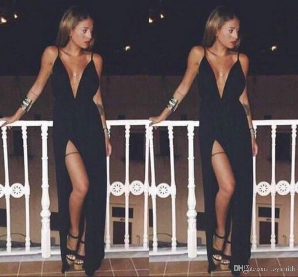Free Shipping 2018 Sexy Deep V-Neck Formal Evening Dress Elegant Spaghetti Sleeveless Said Split A-Line Party Prom Dress