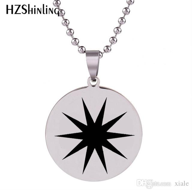 New Star Burst Necklace Star Stainless Steel Pendant Round Necklaces Silver Art Jewelry Ball Chain Gifts For Men