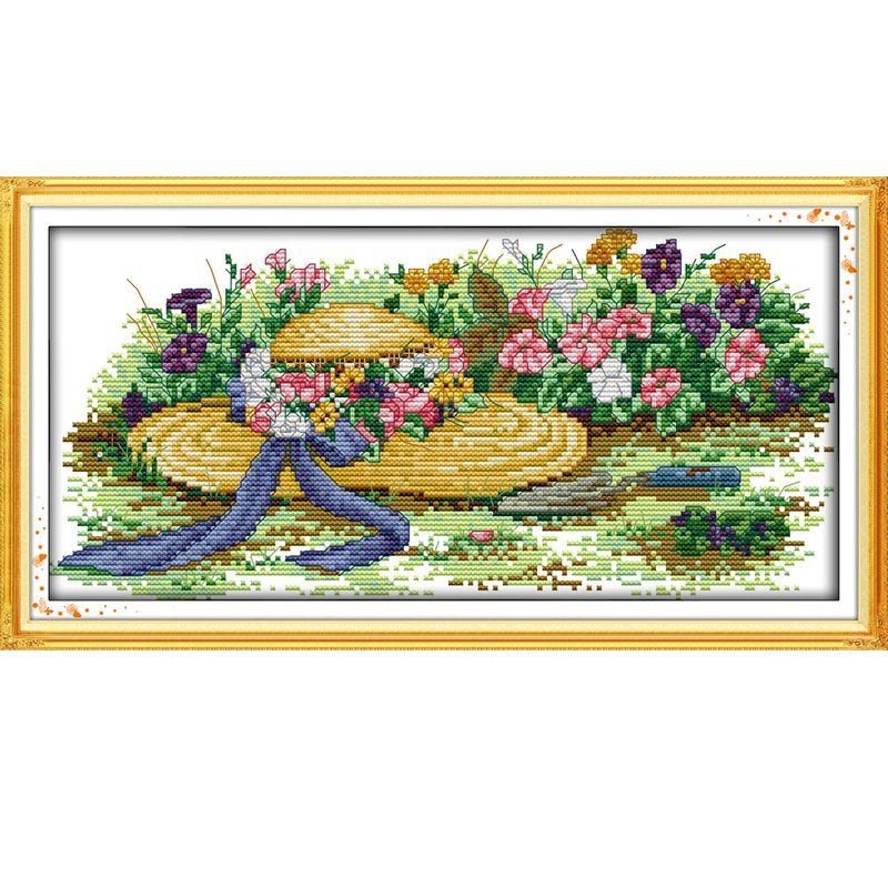 Die Blumen und Strohhüte Muster Kreuzstich Kit DIY Hand Made Stickerei Set Hand Home Dekoration Senden Geschenk