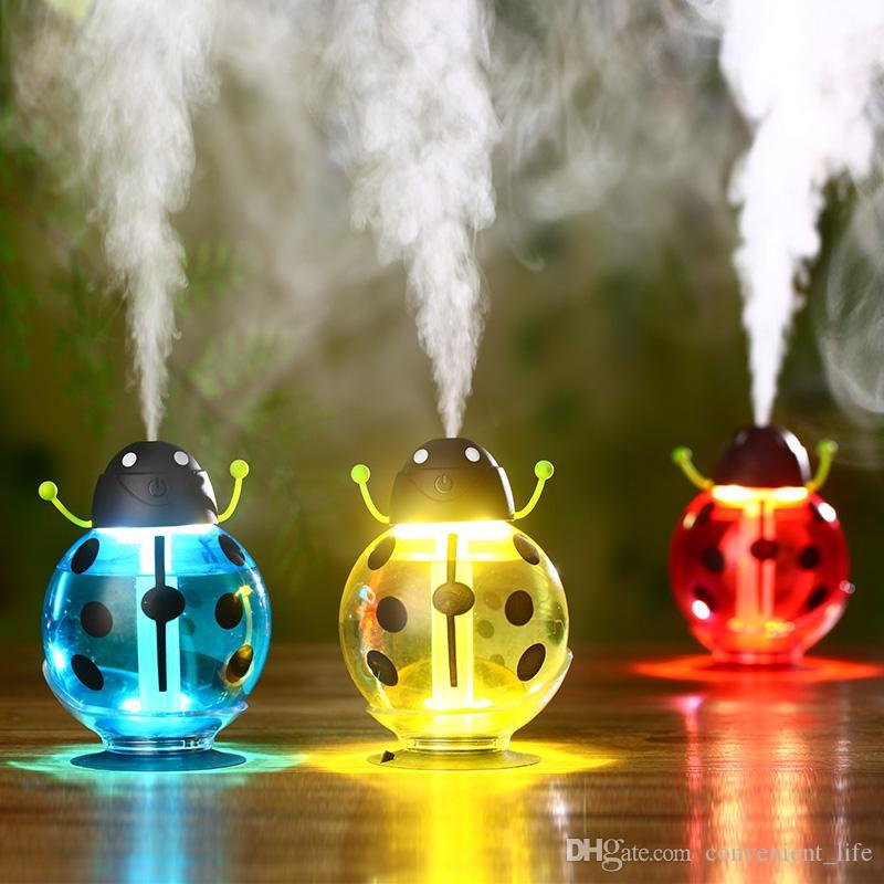 Bonito Beetles Umidificador luz colorida Noite Mini desktop Difusor de carregamento USB Maker Mist umidificador de ar 3 cores