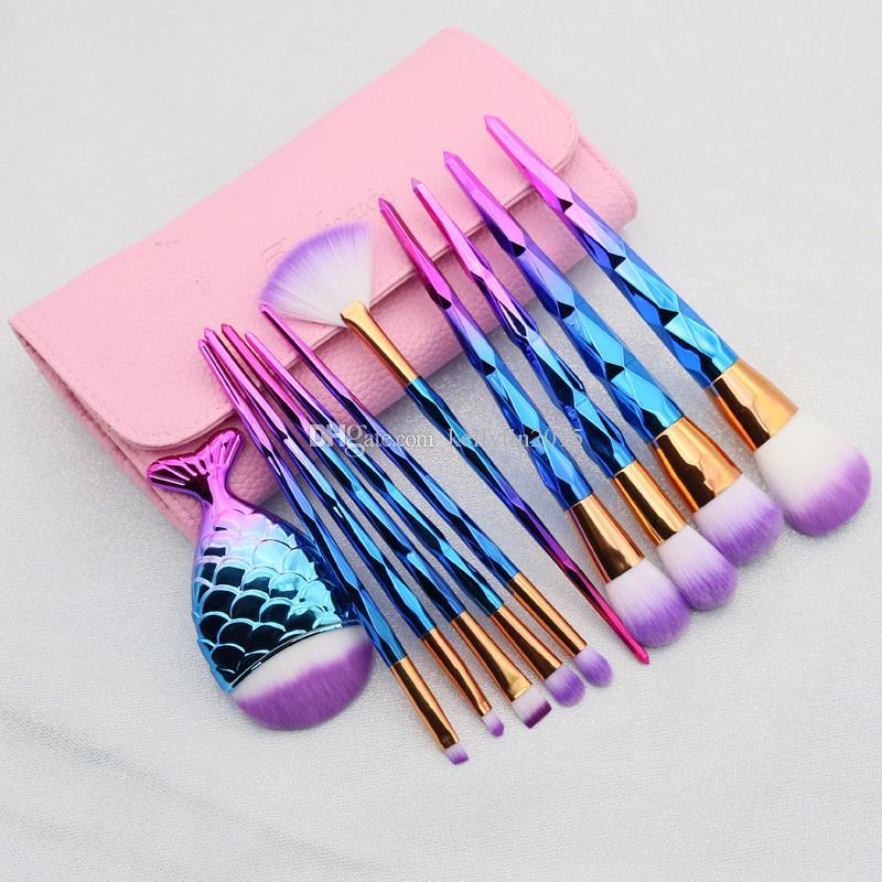 Diamond Makeup Brush Set 10 11pcs Face Powder Foundation Eyeshadow Brushes Cosmetic Tools Rainbow Mermaid Make up Brushes Kit with Bag