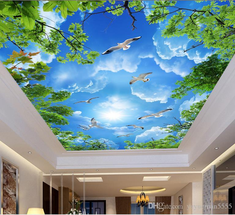 Foto personalizado 3D techo murales papel tapiz blanco nubes 3d techo pared murales fondo de pantalla para paredes 3d