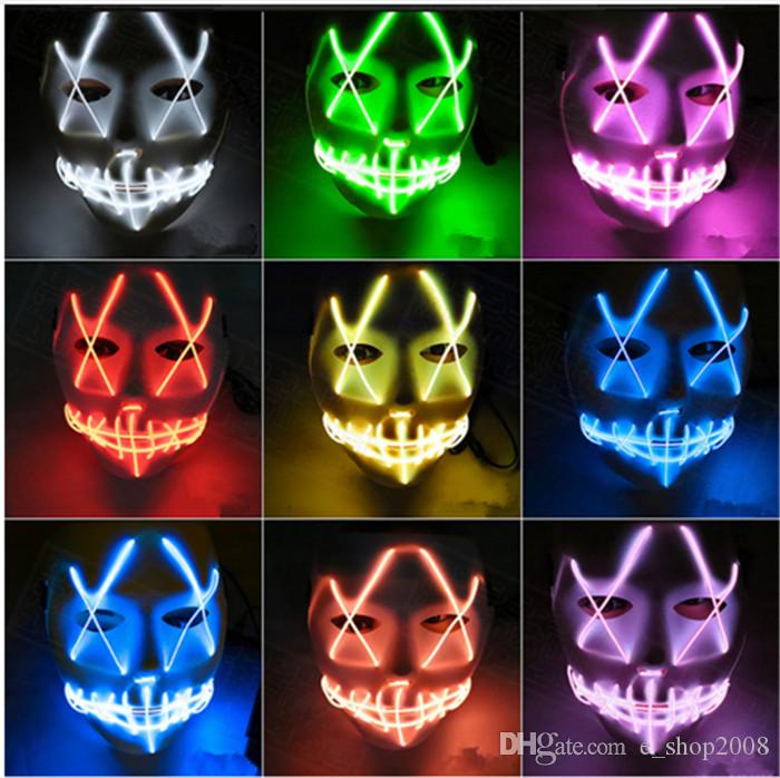 .LED Light Mask Up Funny Mask The Purge Election Year Great for Festival Cosplay Halloween Costume New Year Cosplay